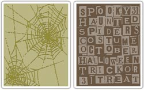 Sizzix Texture Fades Embossing Folders By Tim Holtz - Halloween Words & Cobwebs