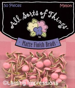 Matte Finish Round Mini Brads - Melon