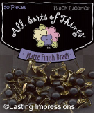 Matte Finish Round Mini Brads - Black Licorice