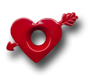 "Heart with Arrow 3/16"" Eyelets - Fire Red"