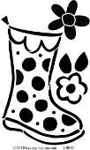 Polka Dot Large Rain Boot with Flowers